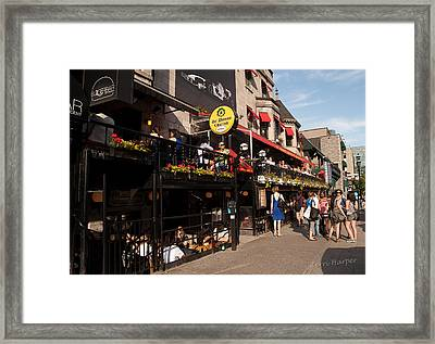 Framed Print featuring the photograph Sir Winston Churchill Pub On Rue De Crescent In Montreal by Terri Harper