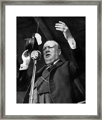 Sir Winston Churchill Public Speaker Framed Print by Retro Images Archive