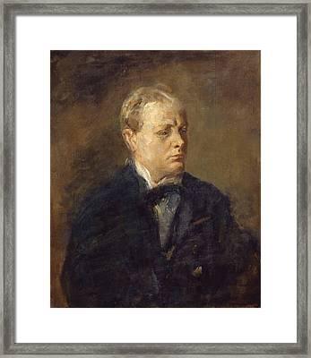 Sir Winston Leonard Spencer Churchill  Framed Print by Celestial Images