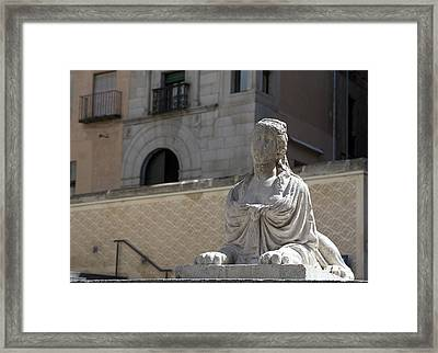 Siren Sphinx In The Medina Del Campo Framed Print by Lorraine Devon Wilke