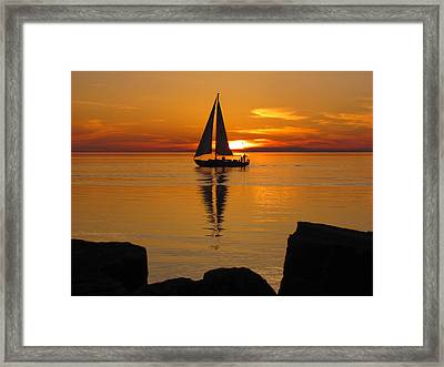 Sister Bay Sunset Sail 2 Framed Print