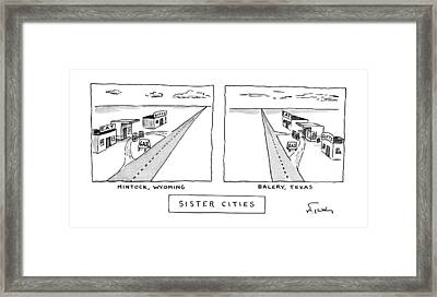 Sister Cities Framed Print by Mike Twoh