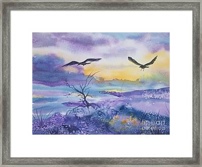 Framed Print featuring the painting Sister Ravens by Ellen Levinson