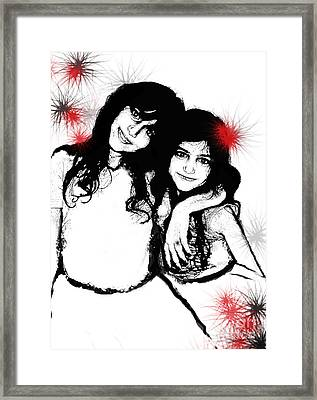 Framed Print featuring the digital art Sisterly Love by Angelique Bowman