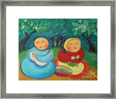 Sisters And Green Beans Framed Print by Teresa Hutto