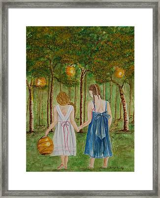 Sisters At Twilight Framed Print