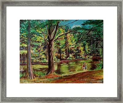Sisters At Wason Pond Framed Print by Sean Connolly