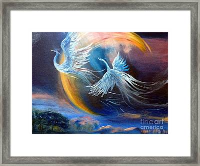 Sisters-birds Of Paradise Framed Print by Irene Pomirchy