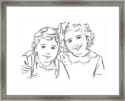 Framed Print featuring the drawing Sisters Forever by Olimpia - Hinamatsuri Barbu