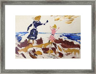 Sisters In The Sand Dunes Framed Print by Roger Cummiskey