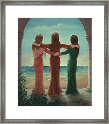 Framed Print featuring the painting Sisters by Laila Awad Jamaleldin