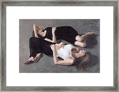 Sisters Oil On Canvas Board Framed Print
