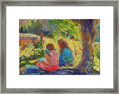 Framed Print featuring the painting Sisters Reading Under Oak Tree by Thomas Bertram POOLE