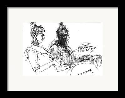 Sisters Drawings Framed Prints