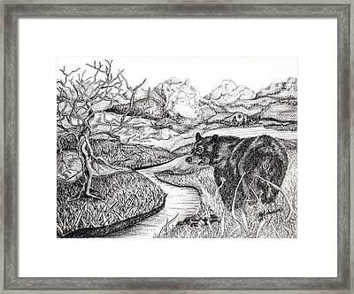 Framed Print featuring the drawing Sisters by Yolanda Raker