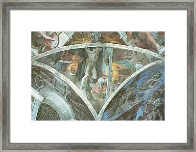 Sistine Chapel Ceiling Haman Spandrel Pre Restoration Framed Print