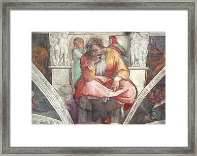 Sistine Chapel Ceiling The Prophet Jeremiah Pre Resoration Framed Print by Michelangelo Buonarroti