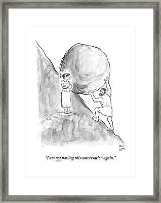 Sisyphus Pushing A Boulder Up A Hill Framed Print