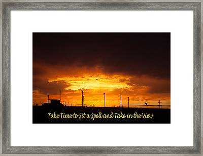 Sit A Spell Sunset Framed Print by Shirley Heier