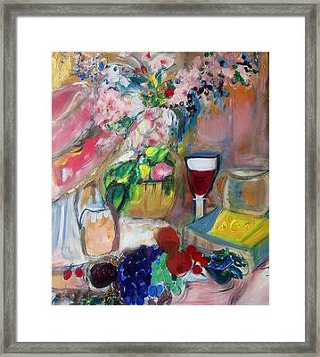 Sit Down To Cheese And Fruit Framed Print