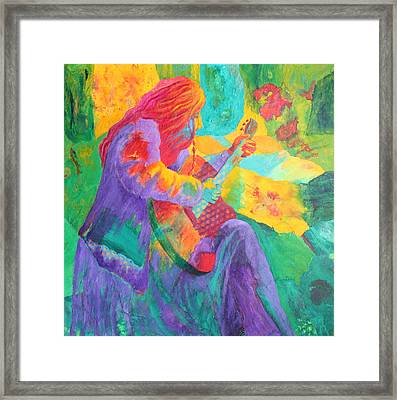 Framed Print featuring the painting Sit'n And Pick'n by Nancy Jolley