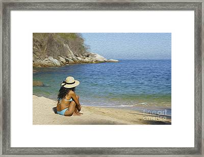 Sitting At The Beach Framed Print by Aged Pixel