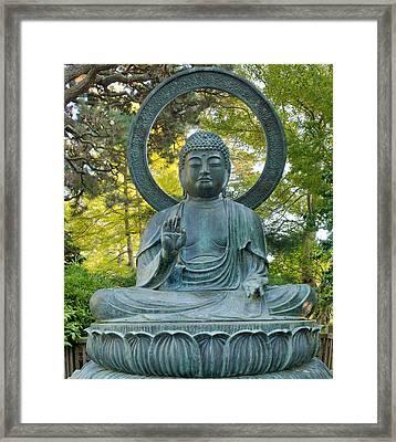Sitting Bronze Buddha At San Francisco Japanese Garden Framed Print by David Gn
