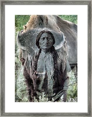Sitting Bull . Lakota Sioux Holy Man Framed Print by Patricia Januszkiewicz