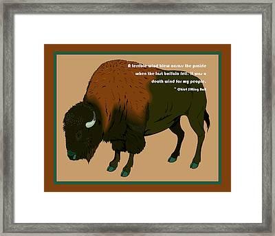 Sitting Bull Buffalo Framed Print by Digital Creation