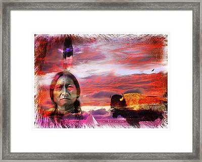 Sitting Bull Framed Print by Mal Bray
