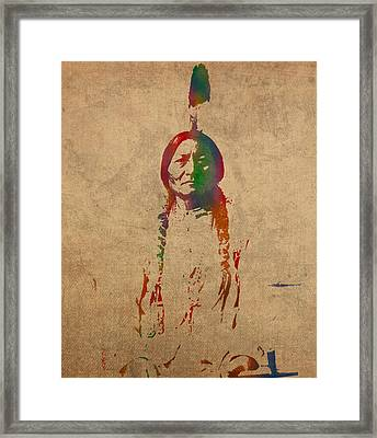 Sitting Bull Watercolor Portrait On Worn Distressed Canvas Framed Print by Design Turnpike