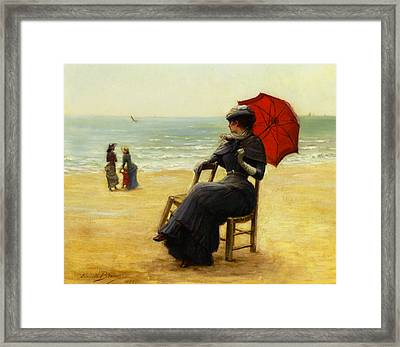 Sitting By The Sea Framed Print by Edouard Bisson