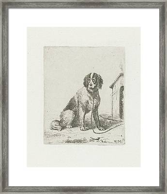 Sitting Dog Chained To A Doghouse, Christiaan Wilhelmus Framed Print
