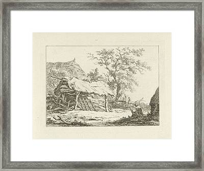 Sitting Figure In A Barn, Carel Lodewijk Hansen Framed Print