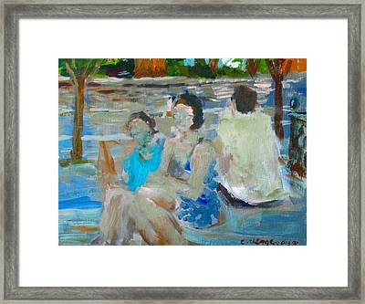 Sitting Figures  Framed Print by Edward Ching