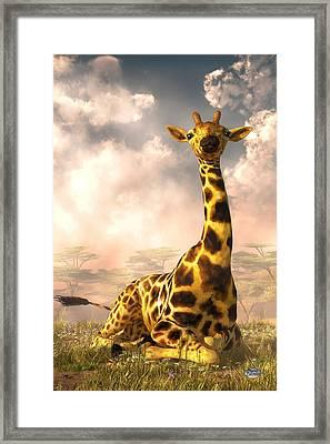 Sitting Giraffe Framed Print