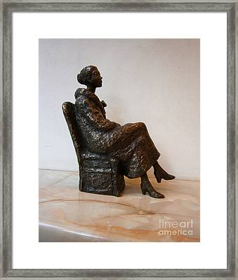Sitting Girl Framed Print by Nikola Litchkov