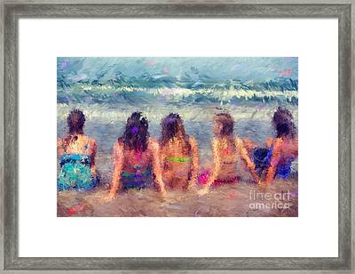 Sitting In The Surf Framed Print