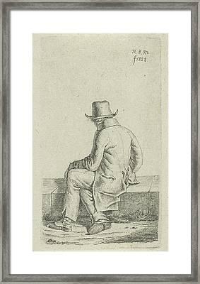 Sitting Man On Wall, Anthonie Willem Hendrik Nolthenius De Framed Print