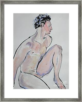 Sitting Man With One Knee Up Framed Print by Asha Carolyn Young