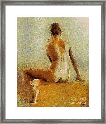 Sitting Nude II Framed Print by Dragica  Micki Fortuna