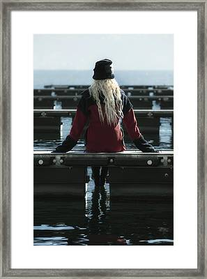 Sitting On Jetty Framed Print by Joana Kruse