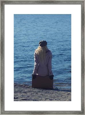 Sitting On Suitcase Framed Print