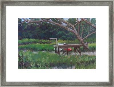 Sitting On The Dock Framed Print by Denise  Cox