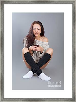 Sitting With Wine Framed Print by Aleksey Tugolukov