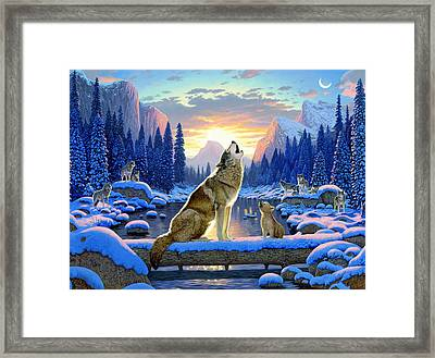 Sitting Wolf And Cub Framed Print