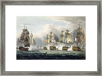 Situation Of The Hms Bellerophon Framed Print by Thomas Whitcombe