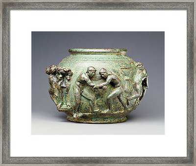 Situla With A Frieze Of Athletic Contests Unknown Roman Framed Print