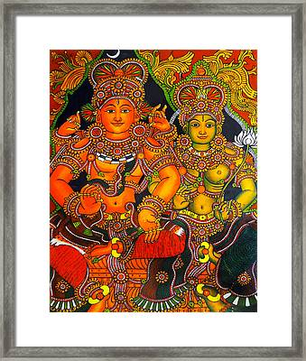 Siva And Parvathy Framed Print