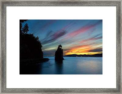 Siwash Rock At Sunset In Vancouver B.c Framed Print